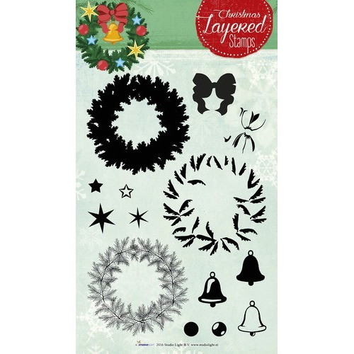 Studio Light Layered Clearstempel Christmas A5 nr 12 STAMPLS12 (11-16)