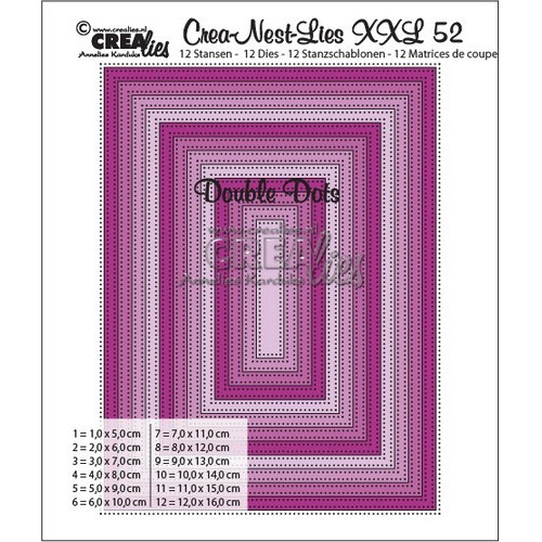 Crealies Crea-nest-dies XXL no. 52  double dots rechthoek max. 12,0 x 16,0 cm / XXL52 (10-16)