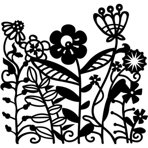 Marabu silhouette sjabloon 15x15 cm - M08 flowerbed