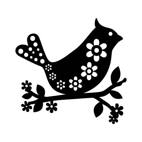 Marabu silhouette sjabloon 15x15 cm - M09 bird with flowers