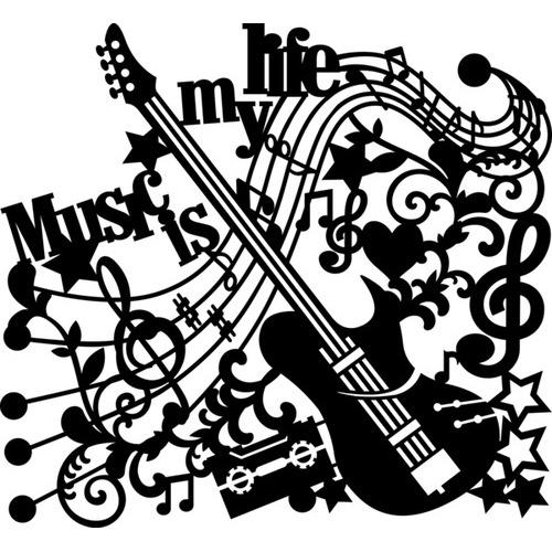 Marabu silhouette sjabloon 30x30 cm - M12 music is my life