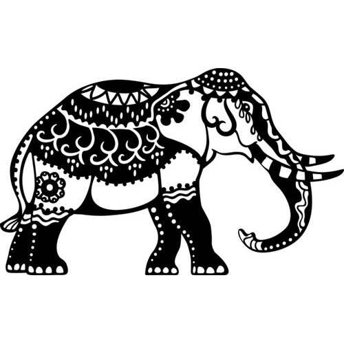 Marabu silhouette sjabloon dina4 - M01 indian elephant