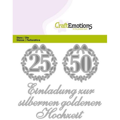 CraftEmotions Die Tekst - Einladung 25 50 Hochzeit (DE) Card 11x9cm (01-17)