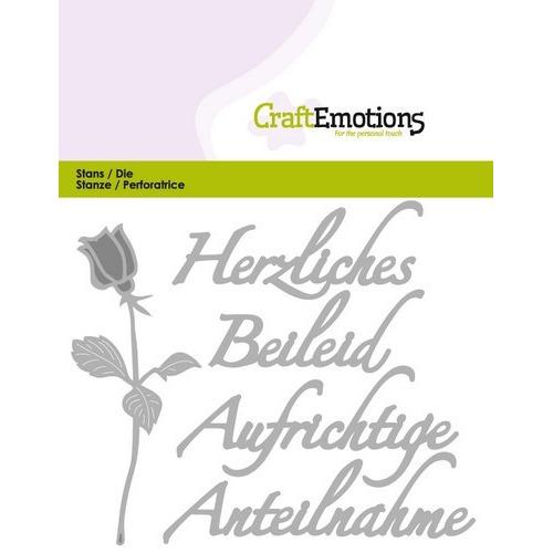 CraftEmotions Die Tekst - Herzliches Beileid (DE) Card 11x9cm (01-17)