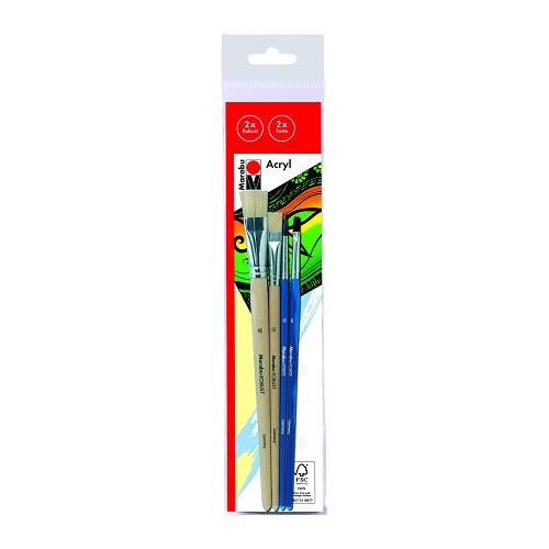 Set de penselen acryl - Penseel robust, plat,taille 12, 18