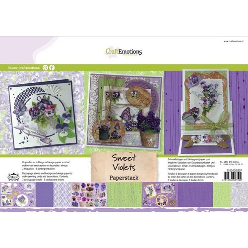 CraftEmotions Paper stack Sweet Violets 11 vel A4 (11-16)