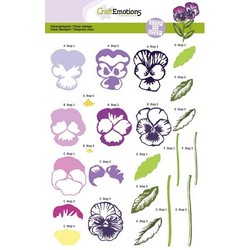 CraftEmotions Step clearstamps A5 - violen Sweet Violets (11-16)