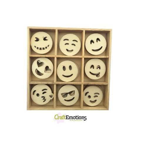 CraftEmotions Houten ornament - emoticons 45 pcs - box 10,5x10,5cm (01-17)