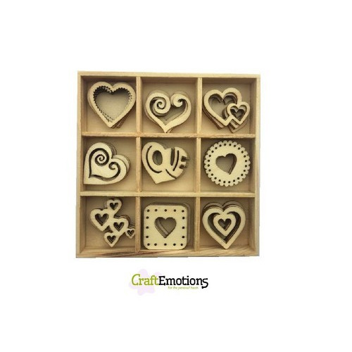 CraftEmotions Houten ornament - hartjes 45 pcs - box 10,5x10,5cm (01-17)