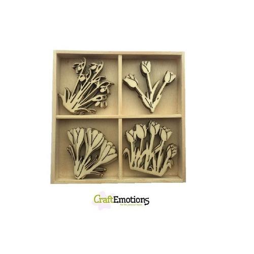 CraftEmotions Houten ornament - voorjaarsbloemen 20 pcs - box 10,5x10,5cm (01-17)
