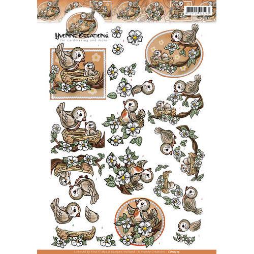 3D Knipvel - Yvonne Creations - Oranje vogeltjes