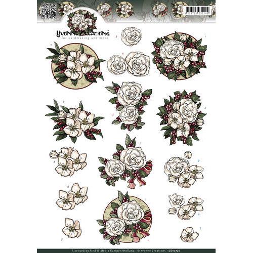 3D Knipvel - Yvonne Creations - White Christmas flowers