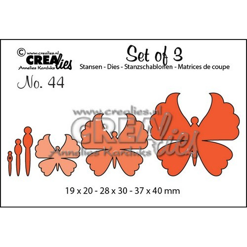 Crealies Set of 3 no. 44 Vlinders 6 19x20-28x30-37x40mm / CLSET44 (12-16)