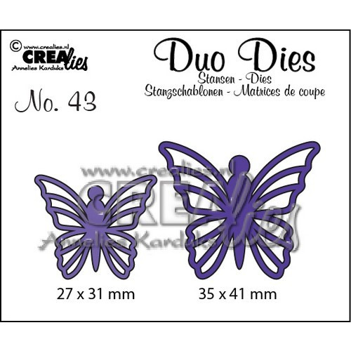 Crealies Duo Dies no. 43 Vlinders 5 35x41mm-27x31mm / CLDD43 (12-16)