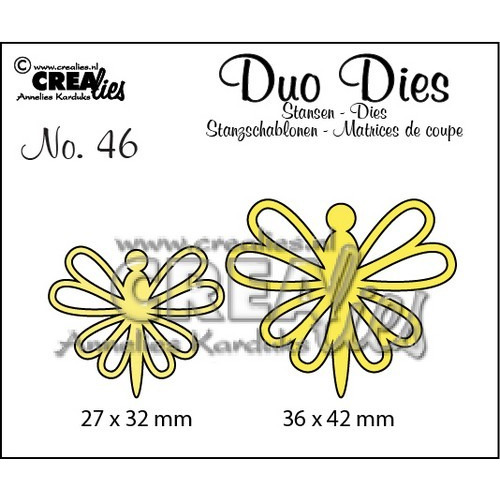Crealies Duo Dies no. 46 Vlinders 8 36x42mm-27x32mm / CLDD46 (12-16)