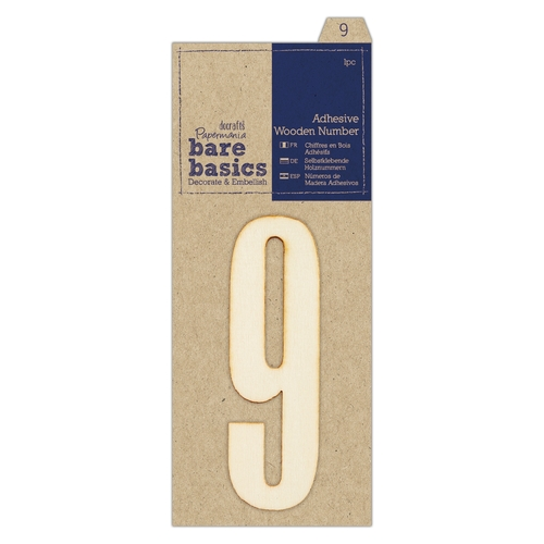 Adhesive Wooden Number 9 (1pc)