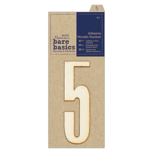 Adhesive Wooden Number 5 (1pc)