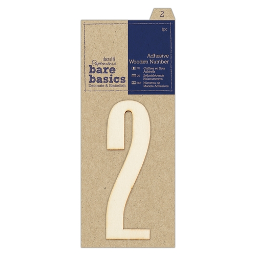 Adhesive Wooden Number 2 (1pc)