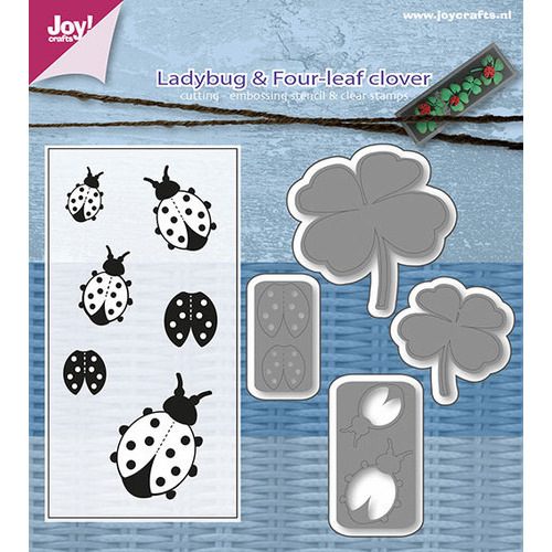 Snij-embosstencils/Clear stempel - lieveheersbeestjes & Klavervier