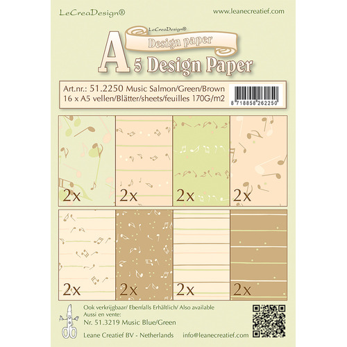 Design papier assortiment Music salmon/ green /brown, 16 sheets A5 170 gr.