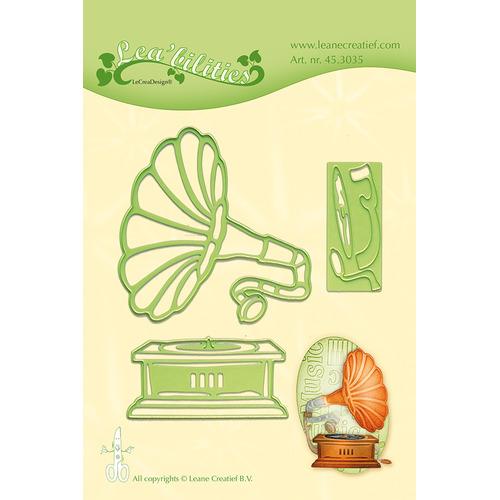 Leabilitie® Vintage Gramophone snij en embossing mal