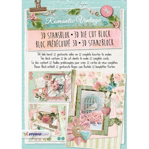 Studio Light Die cut blocs A4 12 vel Romantic Vintage 44 STANSBLOKSL44 (01-17)