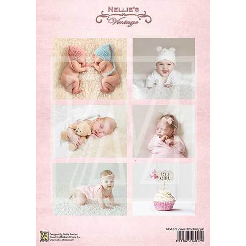 Decoupage sheet - Vintage - Baby-serie - Sweet baby girl