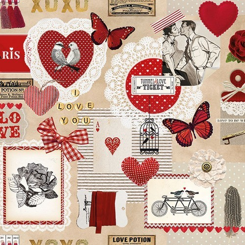 CraftEmotions servetten 5st - Love ticket 33x33cm Ambiente 13309805