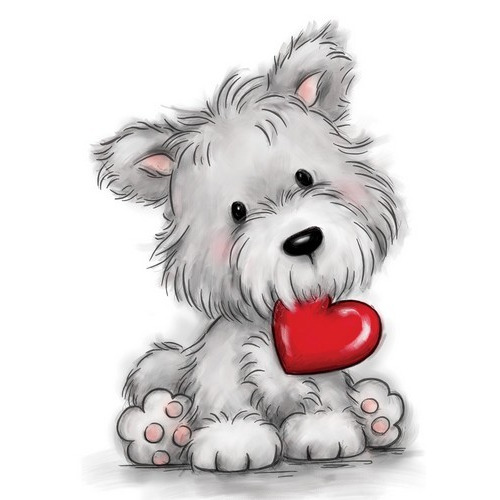 Wild Rose Studio`s A7 stamp set Dog with heart CL503 (01-17)