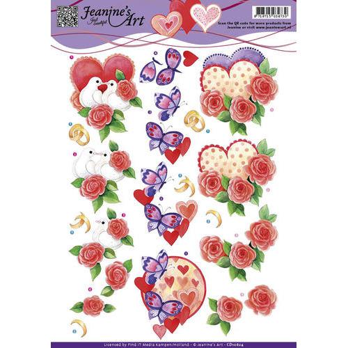 3D Knipvel - Jeanines Art - Liefde Valentijn