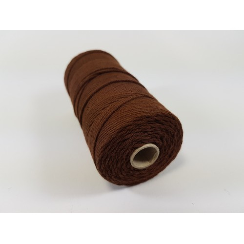 Katoen Macramé touw spoel nr 16 1,5mm 100grs - bruin +/- 110mtr