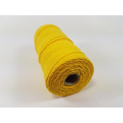 Katoen Macramé touw spoel nr 16 1,5mm 100grs - geel +/- 110mtr