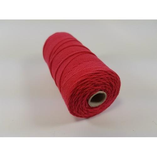 Katoen Macramé touw spoel nr 16 1,5mm 100grs - rood +/- 110mtr