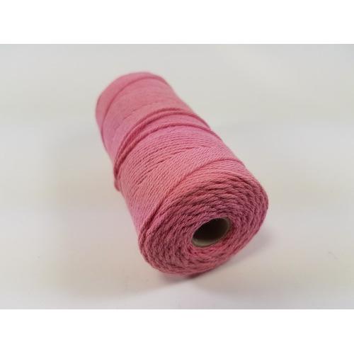 Katoen Macramé touw spoel nr 16 1,5mm 100grs - roze +/- 110mtr