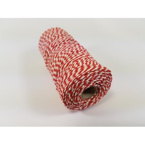 Katoen Macramé touw spoel nr 16 1,5mm 100grs - rood wit +/- 110mtr