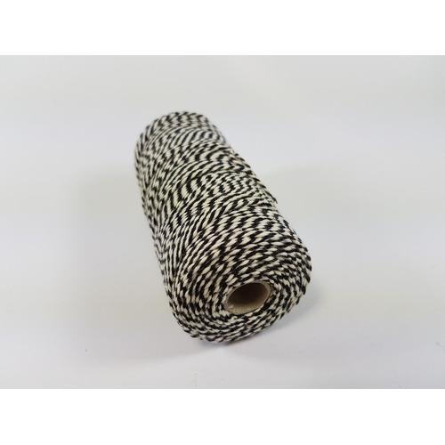 Katoen Macramé touw spoel nr 16 1,5mm 100grs - zwart wit +/- 110mtr