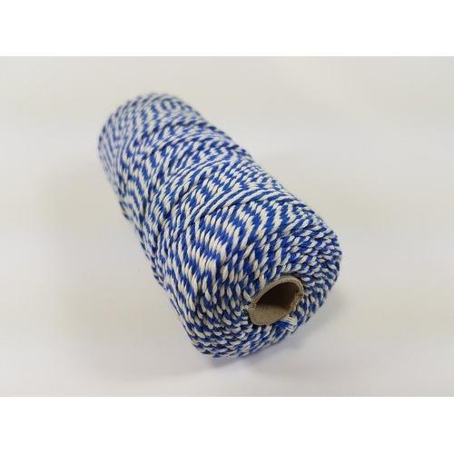 Katoen Macramé touw spoel nr 16 1,5mm 100grs - blauw wit +/- 110mtr