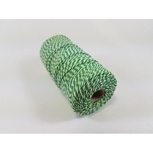 Katoen Macramé touw spoel nr 16 1,5mm 100grs - groen wit +/- 110mtr