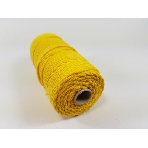 Katoen Macramé touw spoel nr 32 3mm 100grs - geel +/- 43mtr