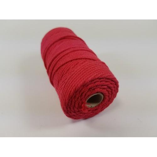 Katoen Macramé touw spoel nr 32 2mm 100grs - rood +/- 43mtr