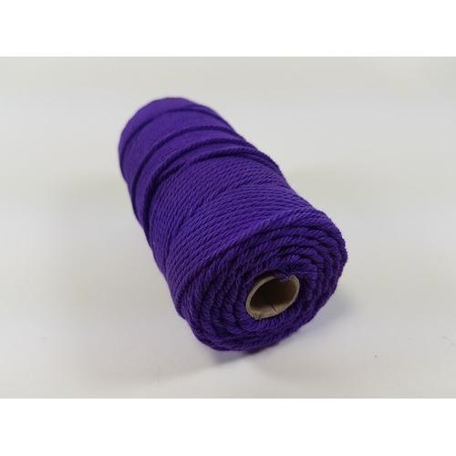 Katoen Macramé touw spoel nr 32 3mm 100grs - paars +/- 43mtr