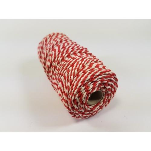 Katoen Macramé touw spoel nr 32 3mm 100grs - rood wit +/- 43mtr