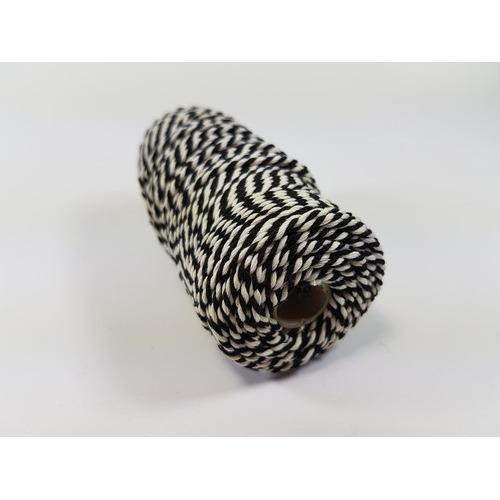 Katoen Macramé touw spoel nr 32 3mm 100grs - zwart wit +/- 43mtr