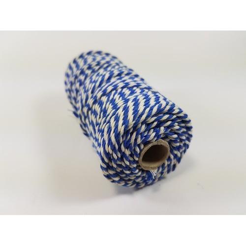 Katoen Macramé touw spoel nr 32 3mm 100grs - blauw wit +/- 43mtr