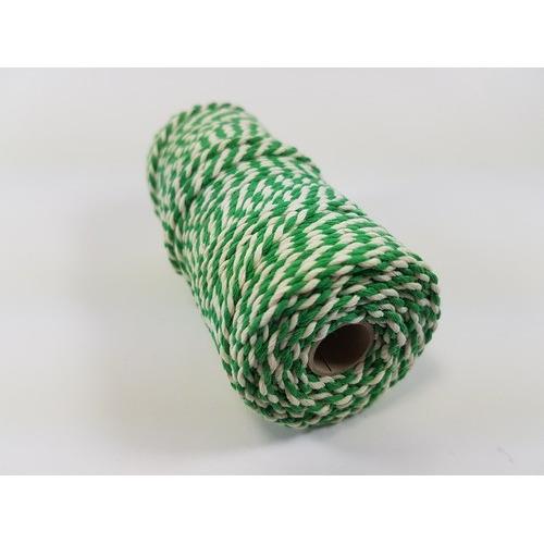 Katoen Macramé touw spoel nr 32 3mm 100grs - groen wit +/- 43mtr