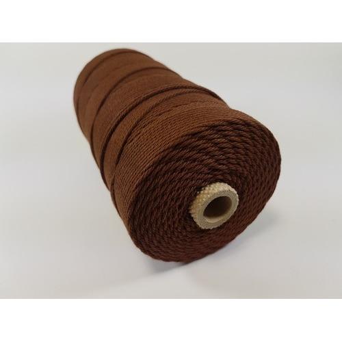 Katoen Macramé touw spoel nr 32 3mm 500grs - bruin +/- 215mtr