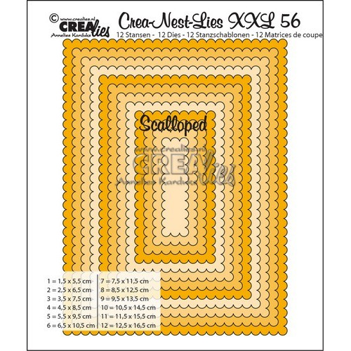 Crealies Crea-nest-dies XXL no. 56  scalloped rectangles max. 12,5x16,5 cm / XXL56 (02-17)