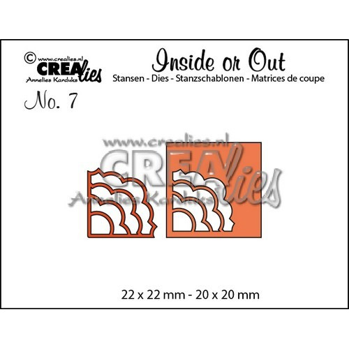 Crealies Insider or Out Corners B 22x22-20x20mm / CLIO07 (02-17)