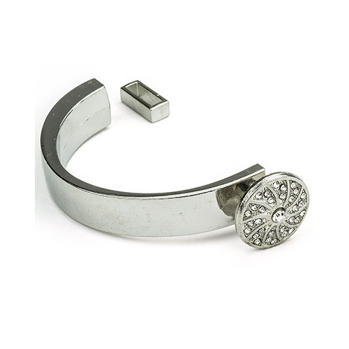 Cord Clasp, Circle with Strass, Platinum