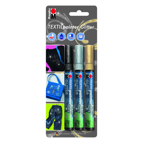 Textielstiftenset Glitter Painter  3 stuks